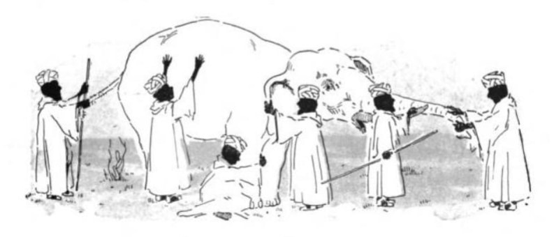 Six blind men touching a different part of an elephant.