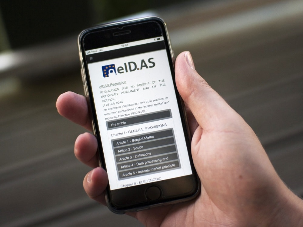 eIDAS regulation open on mobilephone